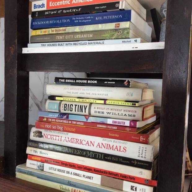 book stack from Tiny House Expedition